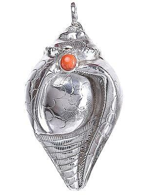 Conch (Shankha) Pendant with Coral from Nepal