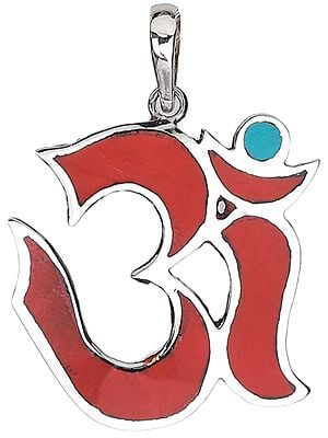 Om Pendant with Coral and Turquoise from Nepal