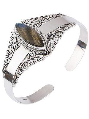 Marquise Cut Labradorite Cuff  Bracelet (Adjustable Size)