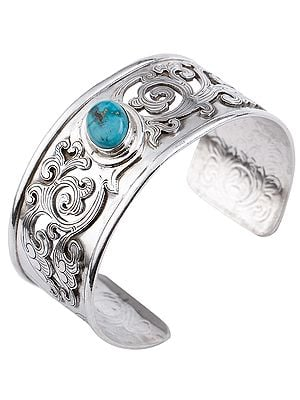 Beautifully Engraved Jali Design Cuff  Bracelet with Turquoise (Adjustable Size)