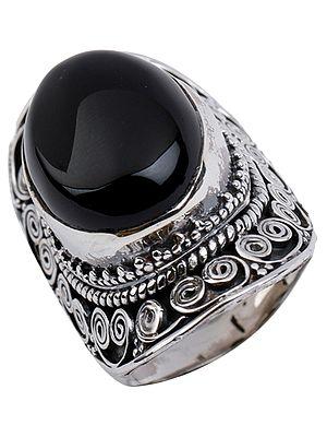 Big Oval Black Onyx Ring