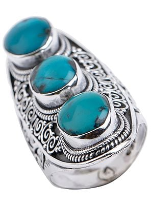 Oval Trio Turquoise Ring