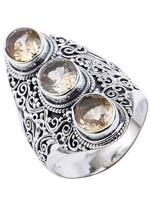 Oval Trio Citrine Ring