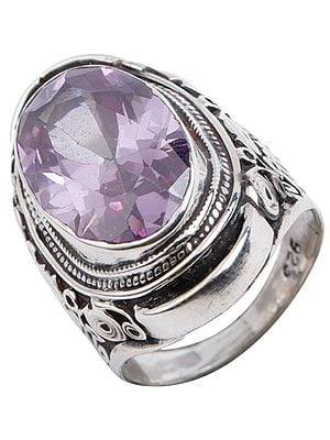 Trio Amethyst Ring with Pear and Oval Gemstones