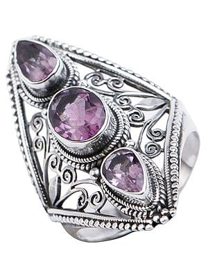 Big Round Checkboard Cut Amethyst Ring