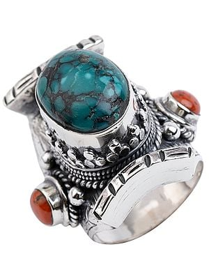 Big Turquoise Coral Ring