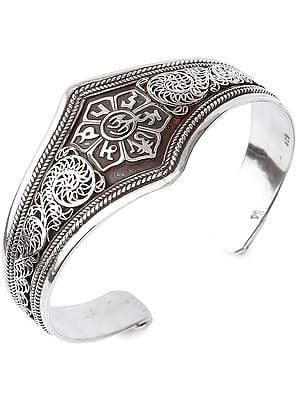 Om Mani Padme Hum Cuff Bracelet with Filigree (Adjustable Size)