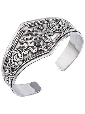 Endless-Knot (Ashtamangala) Filigree Cuff Bracelet (Adjustable Size)