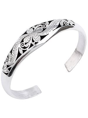 Beautifully Engraved Floral Design Cuff Bracelet from Nepal (Adjustable Size)