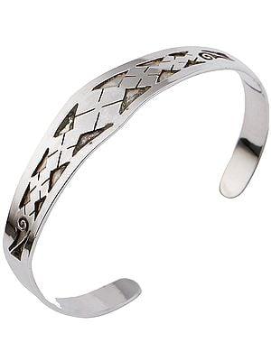 Beautifully Engraved Geometric Design Cuff Bracelet from Nepal (Adjustable Size)