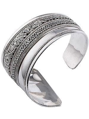 Stylish Filigree Cuff Bracelet from Nepal(Adjustable Size)