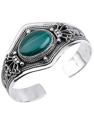 Big Oval Cut Melachite Cuff Bracelet with Double Dorje Design from Nepal (Adjustable Size)