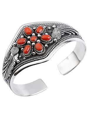Six-Petals Coral Flower Cuff Bracelet with Twisted Rope Design from Nepal (Adjustable Size)