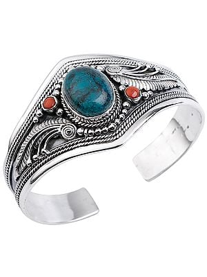Beautifully Crafted Silver Bracelet Cuff Bracelet with Tibetan Turquoise and Coral from Nepal (Adjustable Size)