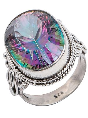 Big Oval Cut Mystic Topaz Ring