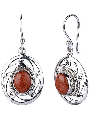 Sterling Silver Jali (Lattice) Earrings with Golden Sunstone