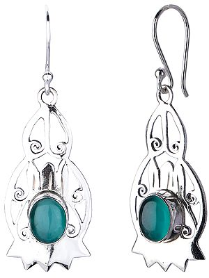 Sterling Silver Jali (Lattice) Earrings with Green Onyx