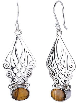 Sterling SilverJali (Lattice) Earrings with Tiger Eye