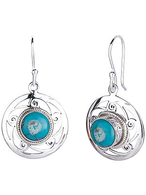 Circular Sterling Silver Earrings with Turquoise