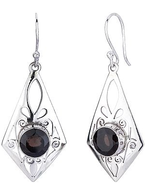 Round Cut Smoky Quartz Earrings with Jali (Lattice)