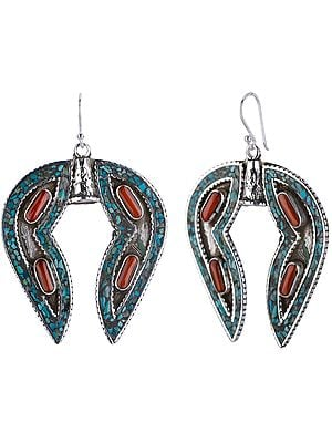 Horse-Shoe Shaped Earrings with Coral and Turquoise