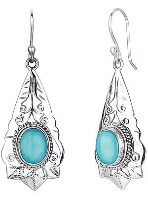 Drop Shaped Sterling Silver Earrings with Tibetan Turquoise