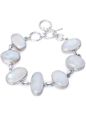 Rainbow Moonstone (Cabochon) Studded Sterling Silver Bracelet