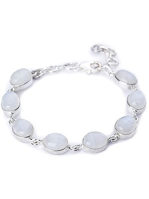 Rainbow Moonstone (Cabochon) Studded Sterling Silver Bracelet with Lobster Clasp