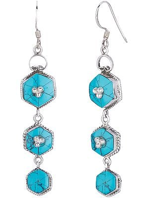 Sterling Silver Studded Hexagonal Dangling Earrings with Reconstituted Turquoise