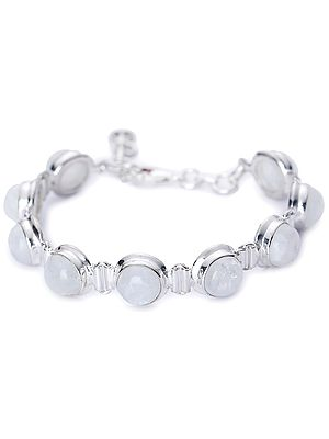 Round Rainbow Moonstone (Cabochon) Studded Sterling Silver Bracelet with Lobster Clasp