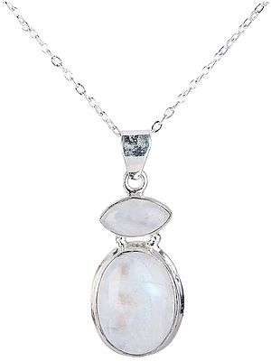 Oval and Marquise Rainbow Moonstone (Cabochon) Studded Sterling Silver Pendant