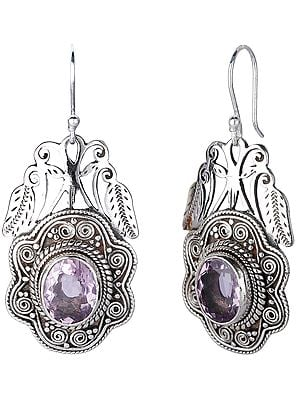 Sterling Silver Earrings with Oval Cut Amethyst