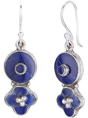 Flower Shaped Dangling Lapis Lazuli Studded Sterling Silver Earrings