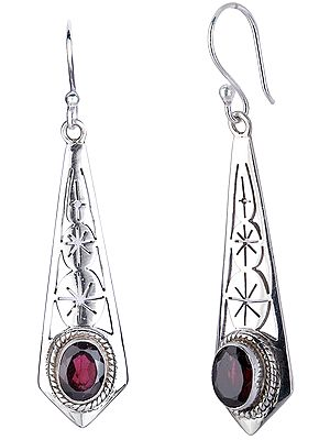 Oval Garnet Studded Geometric Sterling Silver Earrings