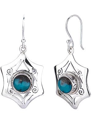 Star Shaped Jali (Lattice) Sterling Silver Earrings with Turquoise