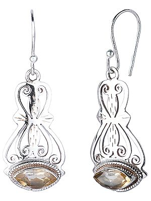 Jali (Lattice) Sterling Silver Earrings with Marquise Cut Citrine