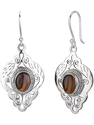 Jali (Lattice) Sterling Silver Earrings with Tiger-Eye