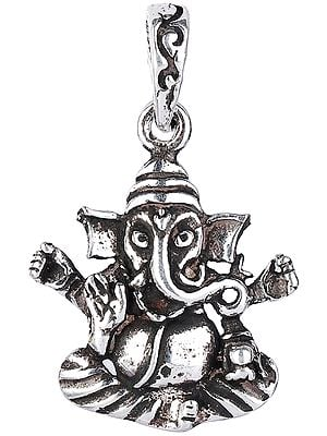 Lord Ganesha Enjoying Modak Sterling Silver Pendant