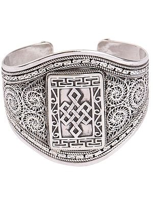 Stylish Filigree Endless Knot (Ashtamangala) Cuff Bracelet (Adjustable Size)