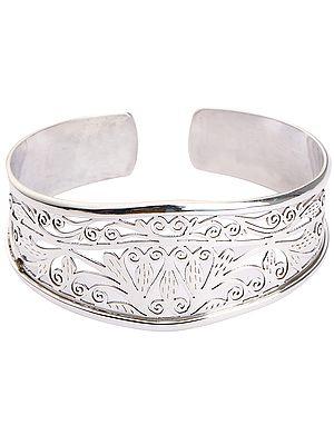 Sterling Silver Fine Jali Filigree Cuff Bangle Bracelet (Adjustable Size)