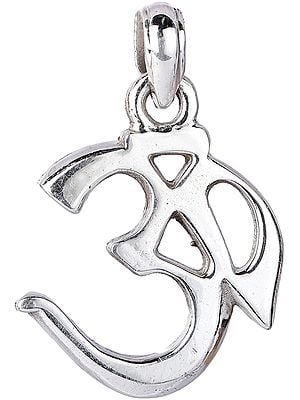 Large Size Sterling Silver Om Pendant