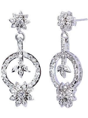 One Circle Dangle Faceted Cubic Zirconia Earrings