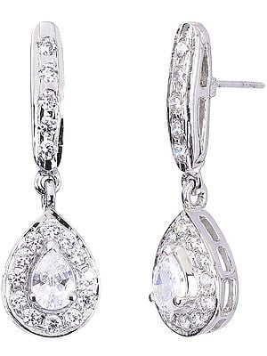 Faceted Cubic Zirconia Teardrop Earrings
