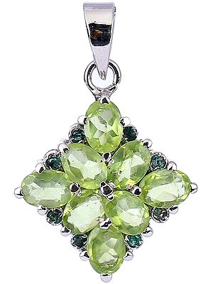 Square Shape Pendant with Peridot and Emerald