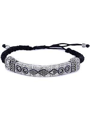 Sterling Silver Amulet Bracelet with Black Cord