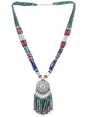 Lapis Lazuli, Coral and Turquoise Ethnic Sun Pendant Necklace
