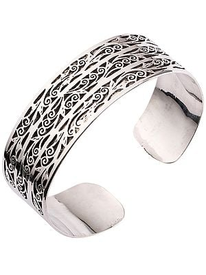 Intricate Jali Cut Cuff Bracelet from Nepal (Adjustable Size)