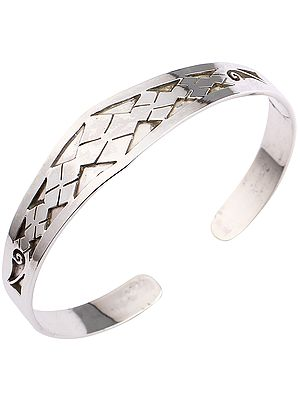 Sterling Silver Cuff Bracelet with Geometric Design from Nepal (Adjustable Size)