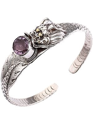 Amethyst Eating Dragon Shapped Cuff Bracelet with Oval-Cut Amethyst (Adjustable Size)