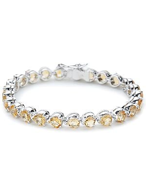 Superfine Sterling Silver Chain Bracelet with Pear-Cut Faceted Citrine Stones